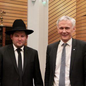 Professor Dr. Jochen Cornelius-Bundschuh und Landesrabbiner Moshe Flomenmann